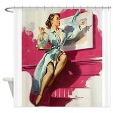 Pin Up Girl, Bird Cage, Vintage Poster Shower Curt