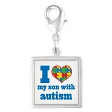 Autism - I Love My Son Silver Square Charm