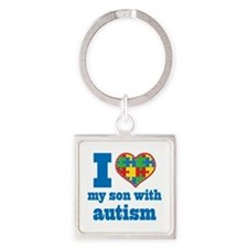 Autism - I Love My Son Square Keychain