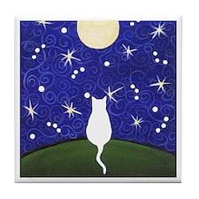 White CAT Starry Night Moon ART Tile