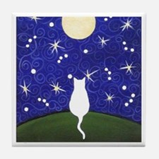 White CAT Starry Night Moon ART Tile