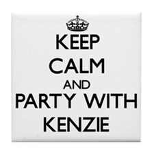 Keep Calm and Party with Kenzie Tile Coaster