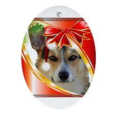 Handsome Holiday Corgi Ornament (Oval)