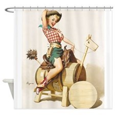 Pin Up Girl, Wood Horse, Vintage Poster Shower Cur