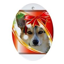 Handsome Holiday Corgi Ornament (Oval)