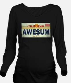 Awesome Cal Plate Long Sleeve Maternity T-Shirt