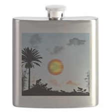 Coqui Frog and the Flag of Puerto Rico, desi Flask