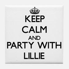 Keep Calm and Party with Lillie Tile Coaster