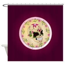 Sugar Skull Round Shower Curtain
