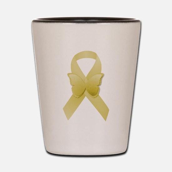 Yellow Awareness Ribbon Shot Glass