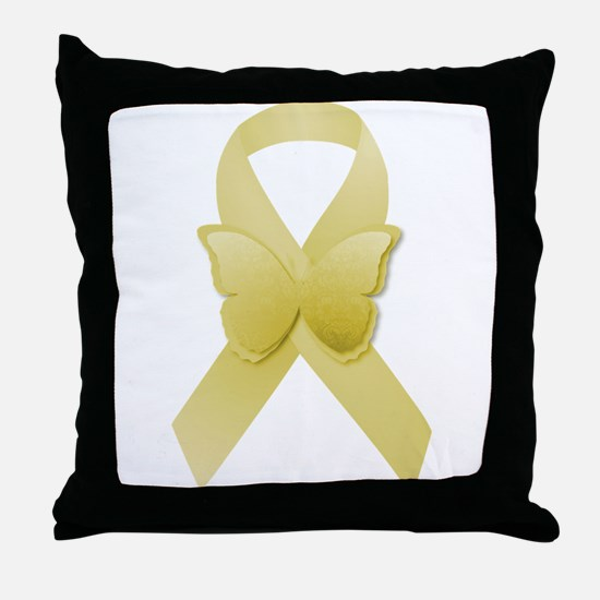 Yellow Awareness Ribbon Throw Pillow