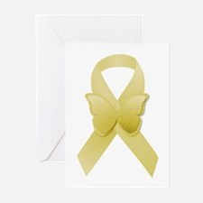 Yellow Awareness Ribbon Greeting Cards (Pk of 10)