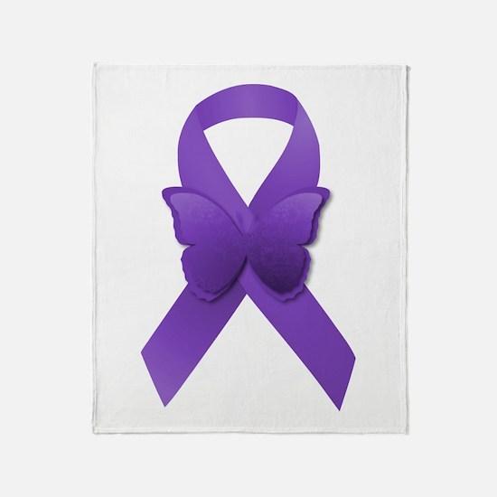 Purple Awareness Ribbon Throw Blanket