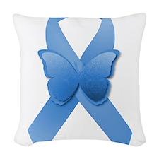 Blue Awareness Ribbon Woven Throw Pillow
