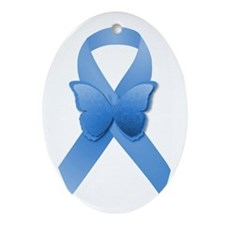 Blue Awareness Ribbon Ornament (Oval)