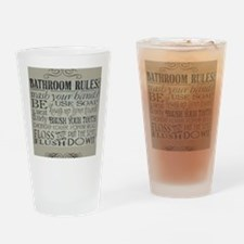 bathroom rules Drinking Glass