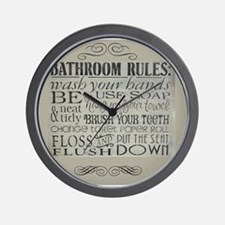 bathroom rules Wall Clock