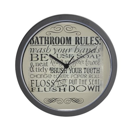 Charming Bathroom Rules Wall Clock