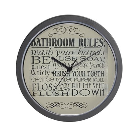 Superb Bathroom Rules Wall Clock Part 15