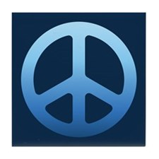 Indigo Fade Peace Sign Tile Coaster