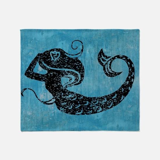 mermaid-worn_12x18 Throw Blanket