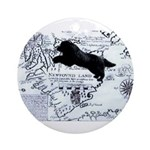 Newfoundland dog Map Ornament (Round)