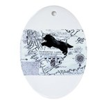 Newfoundland dog Map Ornament (Oval)