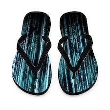 Digital Rain - Blue Flip Flops