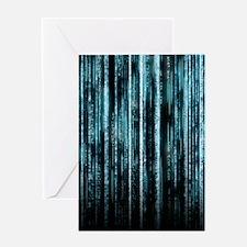 Digital Rain - Blue Greeting Card