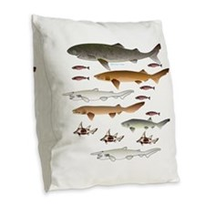 Deep Sea Sharks School 2 c Burlap Throw Pillow