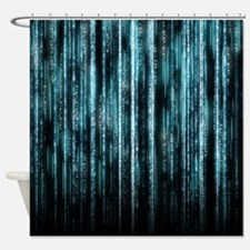 Digital Rain - Blue Shower Curtain