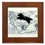 Newfoundland dog Map Framed Tile