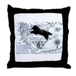 Newfoundland dog Map Throw Pillow