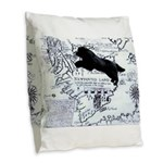 Newfoundland dog Map Burlap Throw Pillow