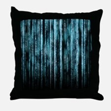 Digital Rain - Blue Throw Pillow