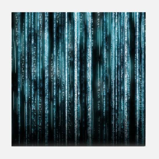 Digital Rain - Blue Tile Coaster