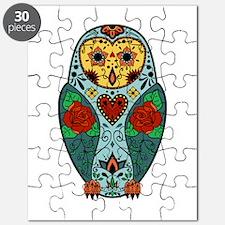 Sugar Skull Barn Owl Color Puzzle