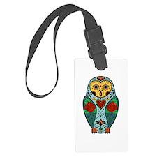Sugar Skull Barn Owl Color Luggage Tag