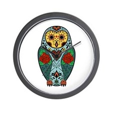 Sugar Skull Barn Owl Color Wall Clock