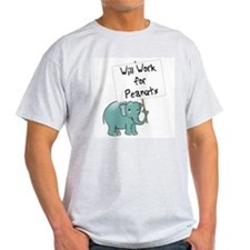 Elephant T-Shirt, ash gray - work for peanuts