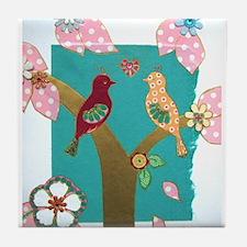 Lovebirds signed artwork Tile Coaster