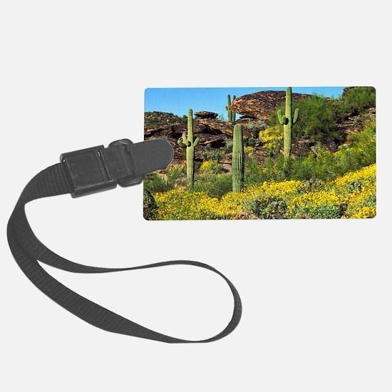 Four Saguaros & Wildflowers Luggage Tag