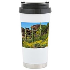 Four Saguaros & Wildflowers Travel Mug