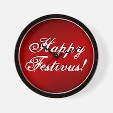 Happy Festivus Fancy Red Wall Clock