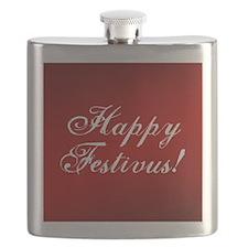 Happy Festivus Fancy Red Flask