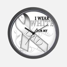 I Wear White for my Dad Wall Clock