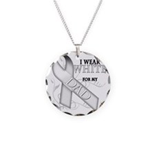 I Wear White for my Dad Necklace Circle Charm