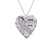 I Wear White for my Daughter Necklace Heart Charm