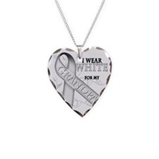 I Wear White for my Grandpa Necklace Heart Charm