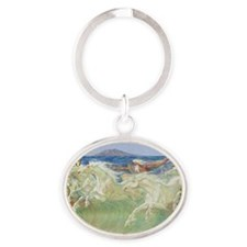 NEPTUNE HORSES CLOCK ONE Oval Keychain